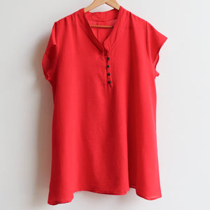 Easy fit onesize lightweight cotton tunic top with cap sleeve. Red.
