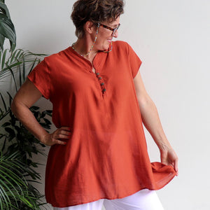 Easy Fit Cotton Cap Sleeve Tunic Top