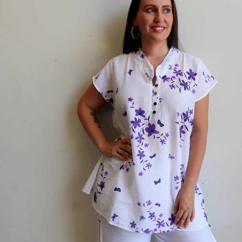 Easy fit one-size lightweight cotton tunic top with cap sleeve. Purple