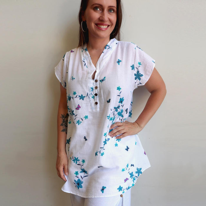 Easy Fit Cotton Cap Sleeve Tunic Top - Orchid Flower