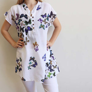 Easy Fit Cotton Cap Sleeve Tunic Top - Butterfly