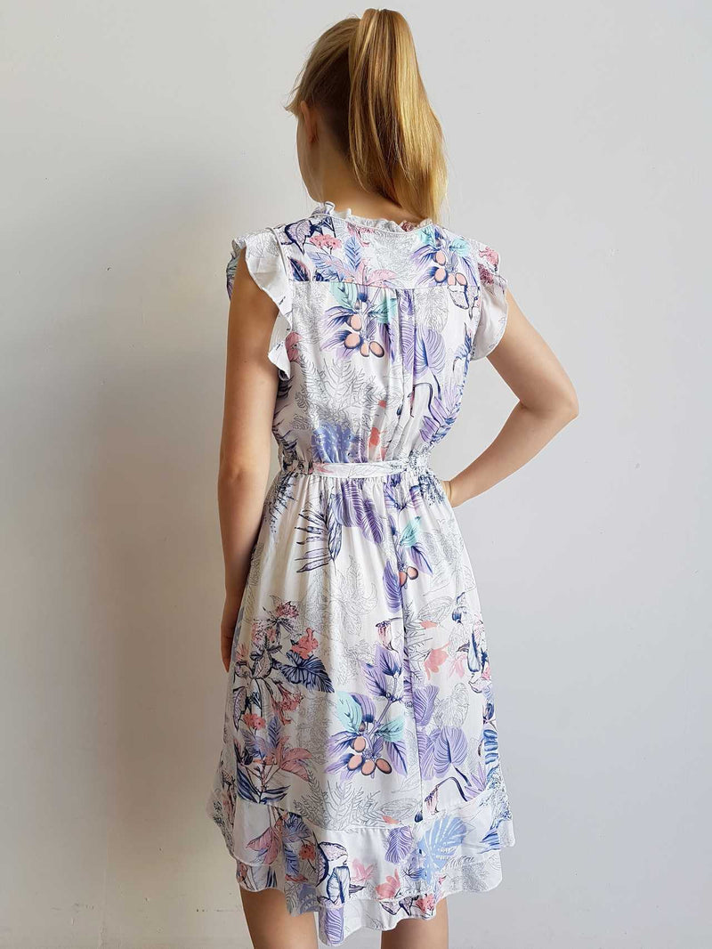 Elsa Dress Botanical Print Sleeveless Wooden Buttons Tie Up - knee length.