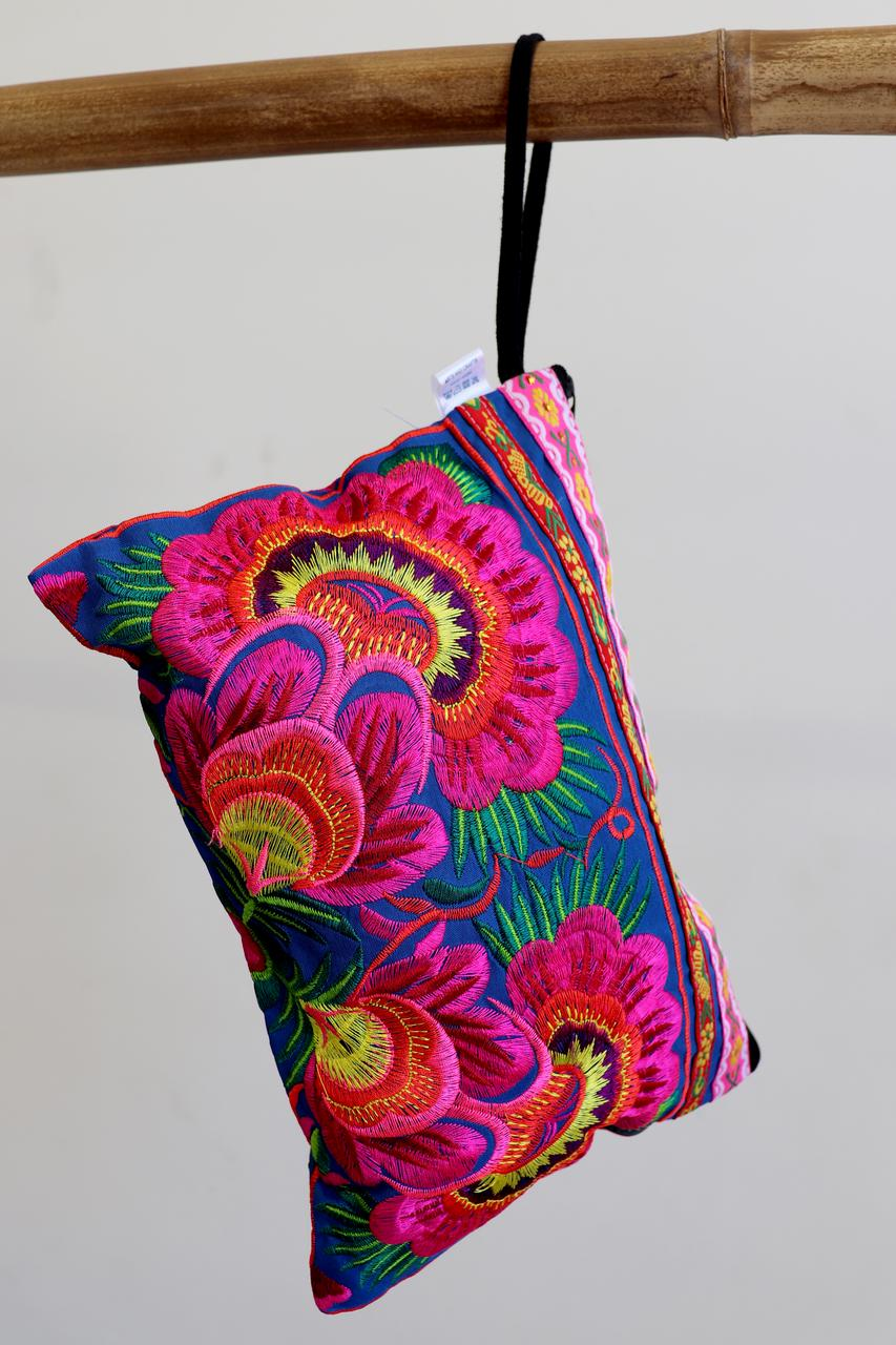 63a6406e259 ... Zip-up embroidery fabric clutch bag or cosmetic bag. Multi-colour neon  floral ...