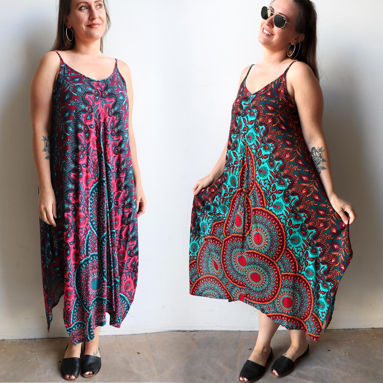 c0c96620e8 Womens flowing summer tunic dress with midi hankerchief hemline and  adjustable spaghetti straps in exotic print ...