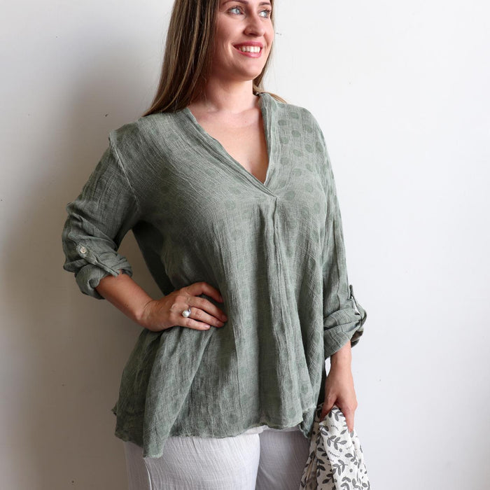 Evelyn Smock Top - Linen/Cotton