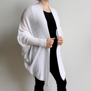 Fame Cardigan is a handy autumn-winter knit with batwing shaping giving plenty of room for all sizes. Versatile enough to throw over light and heavy layers. Available in sizes S/M - L/XL. White..