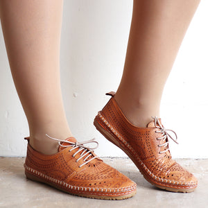 Etched Tan Leather Shoe by Diana Ferrari