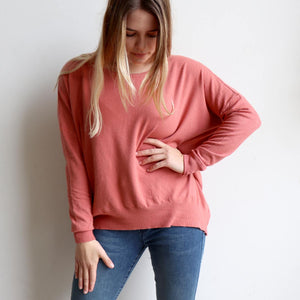 Fernando Sweater, long sleeve women's winter knit sweater with stylish button back. Made from a Cotton, Polyester + Spandex blend in sizes S/M + L/XL. Rose Pink.