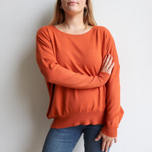 Fernando Sweater, long sleeve women's winter knit sweater with stylish button back. Made from a Cotton, Polyester + Spandex blend in sizes S/M + L/XL. Terracotta.