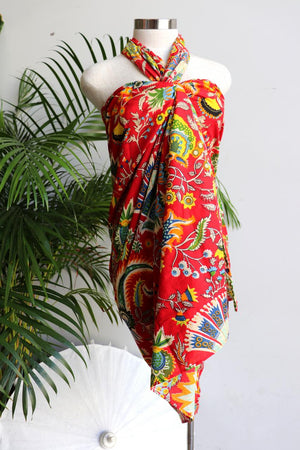 Women's resort style summer beach holiday sarong for cover up or picnic must-have. Funky bright essential can be worn as a tunic dress or skirt, so versatile with generous volume to fit plus size ladies - Red
