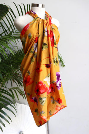 Women's resort style summer beach holiday sarong for cover up or picnic must-have. Funky bright essential can be worn as a tunic dress or skirt, so versatile with generous volume to fit plus size ladies - Yellow Pop