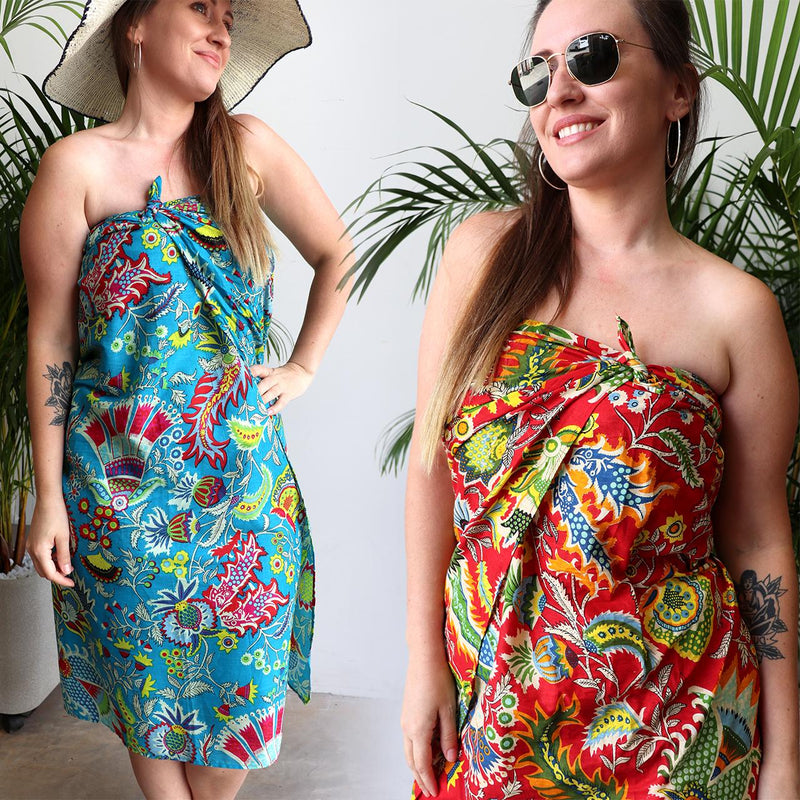 Women's resort style summer beach holiday sarong for cover up or picnic must-have. Funky bright essential can be worn as a tunic dress or skirt, so versatile with generous volume to fit plus size ladies - Red + Sky Blue.