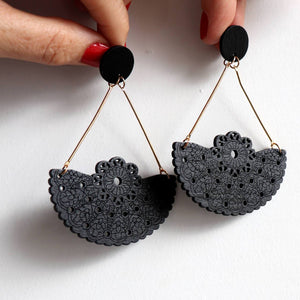 Fiesta Earrings with a laser cut lace filigree design. Black.
