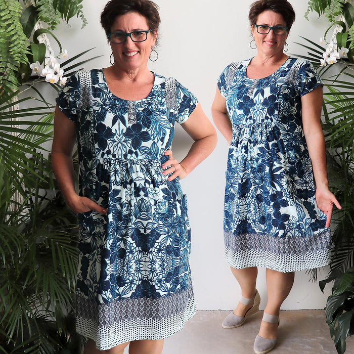 Find A Way Dress - Indigo Blue Floral
