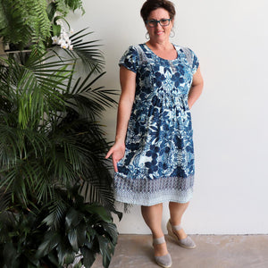 Women's blended-linen knee-length Summer Dress. Smart-casual tunic dress in a rich blue floral print in sizes 8-24.