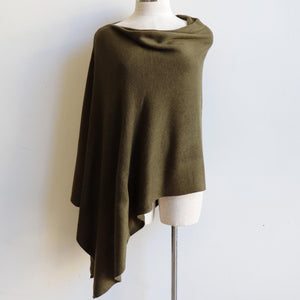 Women's Fine Knit Poncho Wrap. Elegant & versatile winter top can be worn multiple ways, one fit sizing. Made with easy-care acrylic fibre. Olive.