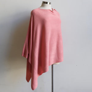 Women's Fine Knit Poncho Wrap. Elegant & versatile winter top can be worn multiple ways, one fit sizing. Made with easy-care acrylic fibre. Pink.