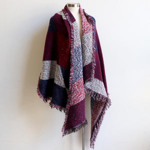 Fireside Wrap Scarf in plaid is a minky soft fibre winter knit accessory. Navy blue/Burgundy red. Long view.