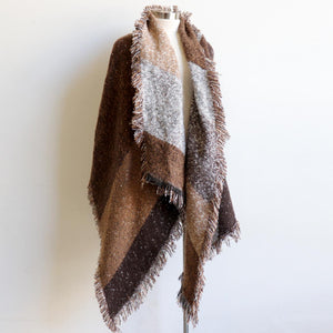 Fireside Wrap Scarf in plaid is a minky soft fibre winter knit accessory. Coffee brown. Long view.