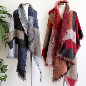 Fireside Wrap Scarf in plaid is a minky soft fibre winter knit accessory. Navy blue and rust double view.
