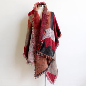 Fireside Wrap Scarf in plaid is a minky soft fibre winter knit accessory. Rust/Warm berry.