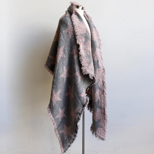 Fireside scarf wrap, over-sized soft fringed knit wrap. Lightweight acrylic blend easily worn as a scarf or wrap. Measures 92 x 201cm. Blush Pink + Silver.