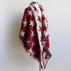 Fireside Wrap Scarf in Stars is a minky soft fibre winter knit accessory. Red/Cream.