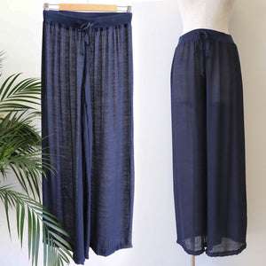 Women's wide-leg semi-sheer lounge beach pants with drawstring. Wear spring to summer on the hips or high waisted options. Great for tropical travel and casual floaty coast look. Plus sizes available up to a size 20 - Navy Blue
