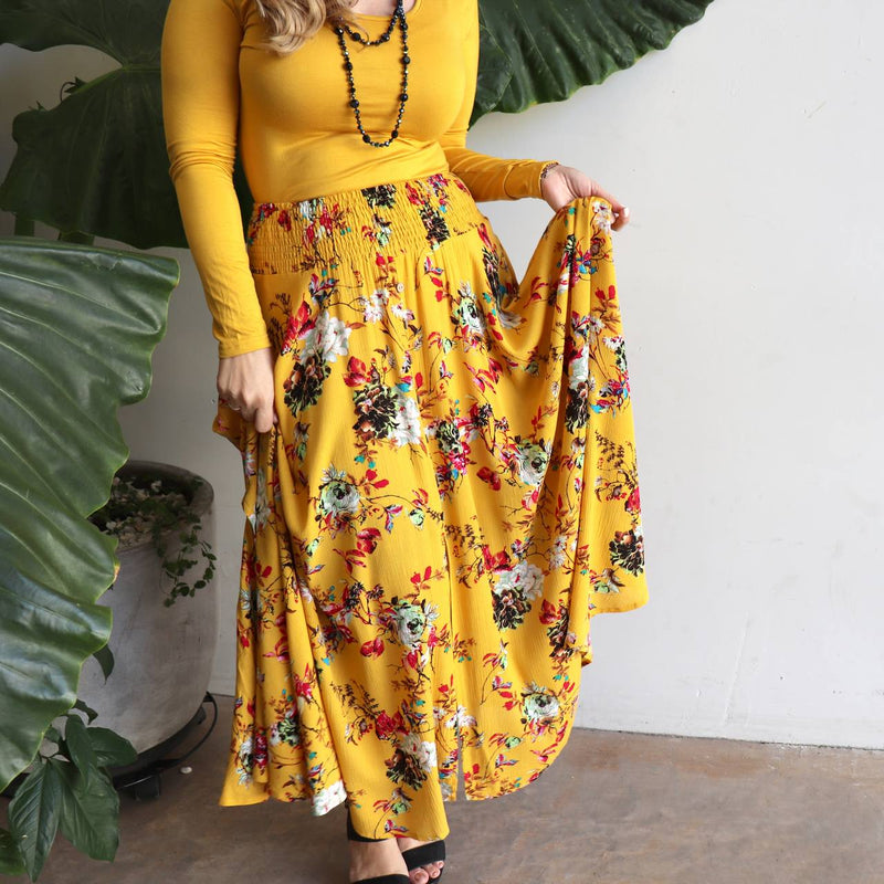 Classic flowy maxi skirt. Spring to summer feminine floral essential - Sasaki Print - Sunshine Yellow.
