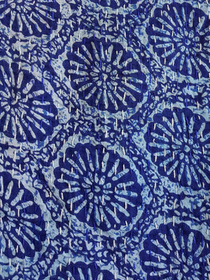 Traditional Blockprint Cotton Kantha Bed Throw QUEEN SIZE. Fossil