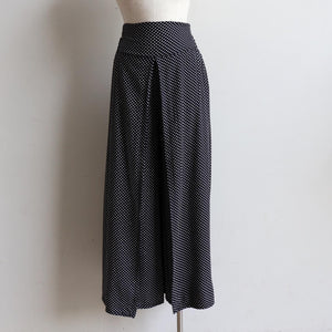 Free Spirit Wrap Pant in Polka Dot, a classic wide-leg palazzo style for summer and winter wardrobes. Front view.