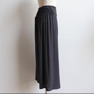 Free Spirit Wrap Pant in Polka Dot, a classic wide-leg palazzo style for summer and winter wardrobes. Side view.