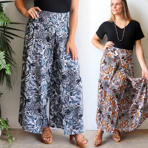 Free Spirit Wrap Pants, a full length women's pant in a bold animal print. Stylish women's bottoms with elasticated back waistband allows for all day comfort and wear. Made with quality cotton-feel rayon. In two sizing options 8-14 or 16-20.