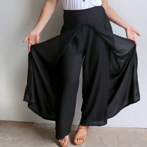 Free Spirit Wrap Pant in black is a classic palazzo design for work or casual wear. Open view.