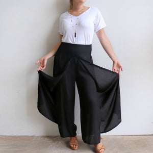Free Spirit Wrap Pant in black is a classic palazzo design for work or casual wear. Easy pull on.