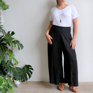 Free Spirit Wrap Pant in black is a classic palazzo design for work or casual wear. Black.