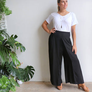 Free Spirit Wrap Pant in black is a classic palazzo design for work or casual wear. Plus size available.