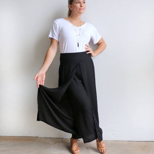 Free Spirit Wrap Pant in black is a classic palazzo design for work or casual wear. Cool to wear.