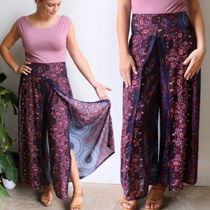 Free Spirit Wrap Pant in funky palazzo style featuring a Mandala print. Double view navy.