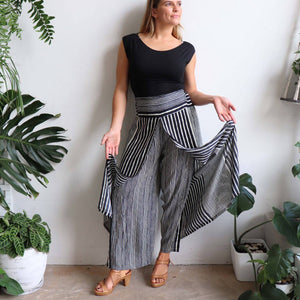 Free Spirit Wrap Pant in a modern stripe, a classic palazzo style for your smart-casual wardrobe. Black. Double open leg.