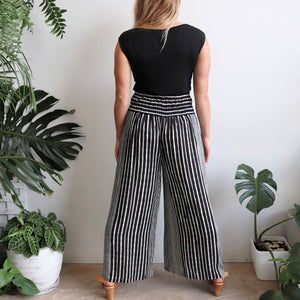 Free Spirit Wrap Pant in a modern stripe, a classic palazzo style for your smart-casual wardrobe. Black. Back view.