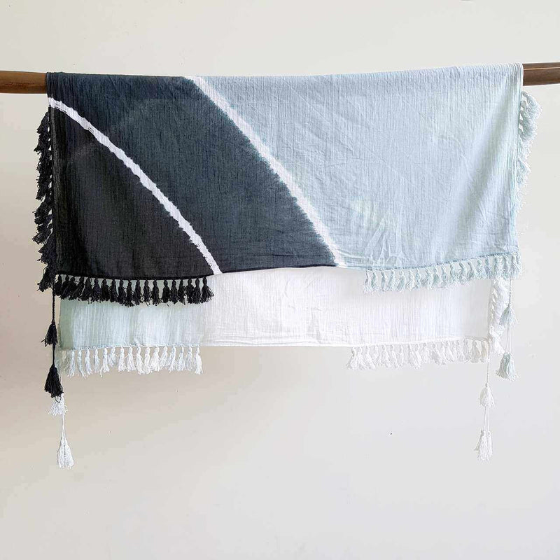 Stunning handmade, naturally dyed, 100% cotton wrap scarf with tassels in charcoal.