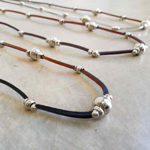 Long leather necklace with bead detail