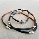 Long leather necklace with bead detail - Black Leather