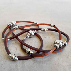 Long leather necklace with bead detail - Brown Leather