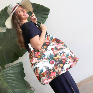 Large waterproof shopping tote in floral print also great weekender or carry on.