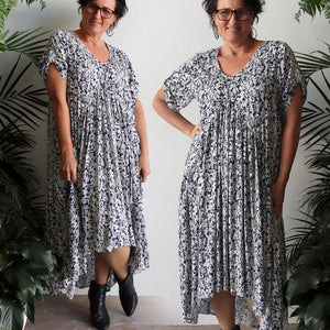 Gem of a Dress - hi-lo summer maxi style in navy blue botanical print