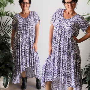 Gem of a Dress - hi-lo summer maxi style in lavender leopard animal print