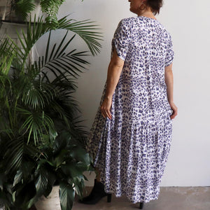 Gem of a Dress - hi-lo summer maxi style in lavender leopard animal print. Back view.