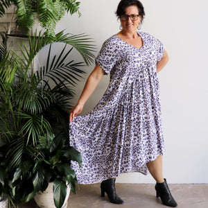 Gem of a Dress - hi-lo summer maxi style in lavender leopard animal print. Skirt view.